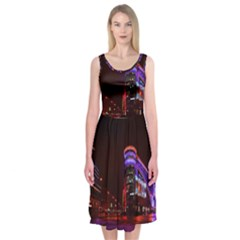 Moscow Night Lights Evening City Midi Sleeveless Dress