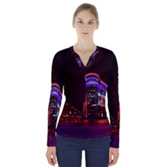Moscow Night Lights Evening City V Neck Long Sleeve Top