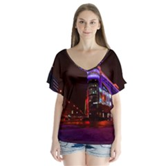 Moscow Night Lights Evening City V Neck Flutter Sleeve Top