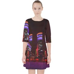 Moscow Night Lights Evening City Pocket Dress