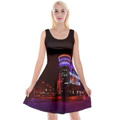 Moscow Night Lights Evening City Reversible Velvet Sleeveless Dress