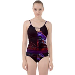 Moscow Night Lights Evening City Cut Out Top Tankini Set