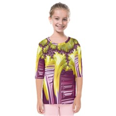 Yellow Magenta Abstract Fractal Kids  Quarter Sleeve Raglan Tee by Nexatart