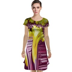 Yellow Magenta Abstract Fractal Cap Sleeve Nightdress