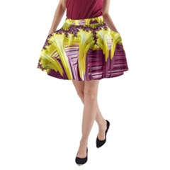 Yellow Magenta Abstract Fractal A Line Pocket Skirt