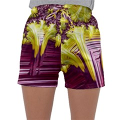 Yellow Magenta Abstract Fractal Sleepwear Shorts