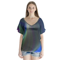 Gloom Background Abstract Dim V Neck Flutter Sleeve Top by Nexatart