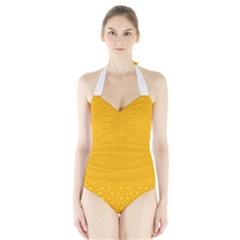 Texture Background Pattern Halter Swimsuit