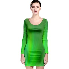 Green Background Abstract Color Long Sleeve Bodycon Dress