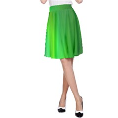 Green Background Abstract Color A Line Skirt