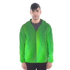 Green Background Abstract Color Hooded Wind Breaker (men)