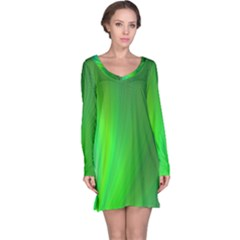Green Background Abstract Color Long Sleeve Nightdress