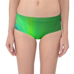 Green Background Abstract Color Mid Waist Bikini Bottoms