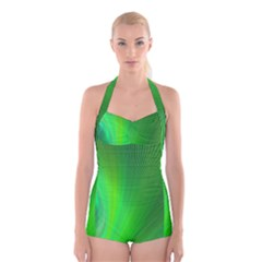 Green Background Abstract Color Boyleg Halter Swimsuit