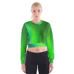 Green Background Abstract Color Cropped Sweatshirt