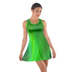 Green Background Abstract Color Cotton Racerback Dress