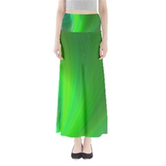 Green Background Abstract Color Full Length Maxi Skirt
