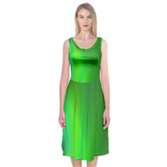 Green Background Abstract Color Midi Sleeveless Dress