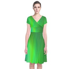 Green Background Abstract Color Short Sleeve Front Wrap Dress