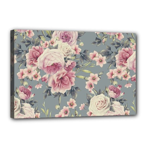 Pink Flower Seamless Design Floral Canvas 18  X 12