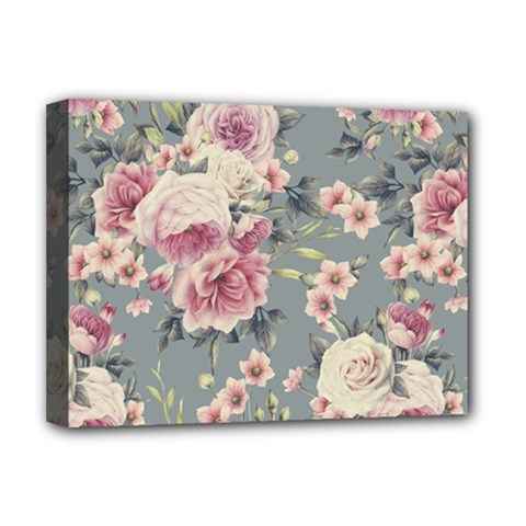 Pink Flower Seamless Design Floral Deluxe Canvas 16  X 12