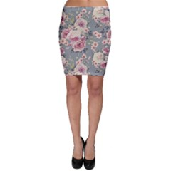 Pink Flower Seamless Design Floral Bodycon Skirt