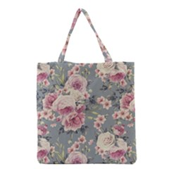 Pink Flower Seamless Design Floral Grocery Tote Bag by Nexatart