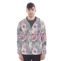 Pink Flower Seamless Design Floral Hooded Wind Breaker (men)