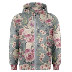 Pink Flower Seamless Design Floral Men s Zipper Hoodie