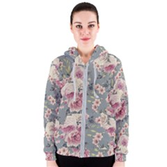 Pink Flower Seamless Design Floral Women s Zipper Hoodie