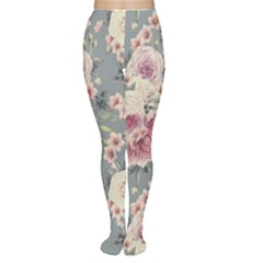 Pink Flower Seamless Design Floral Women s Tights