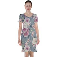 Pink Flower Seamless Design Floral Short Sleeve Nightdress