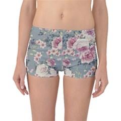 Pink Flower Seamless Design Floral Boyleg Bikini Bottoms