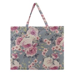 Pink Flower Seamless Design Floral Zipper Large Tote Bag by Nexatart
