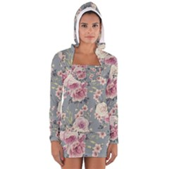 Pink Flower Seamless Design Floral Long Sleeve Hooded T Shirt