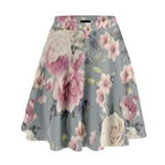 Pink Flower Seamless Design Floral High Waist Skirt