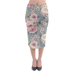Pink Flower Seamless Design Floral Midi Pencil Skirt