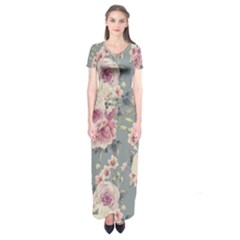Pink Flower Seamless Design Floral Short Sleeve Maxi Dress