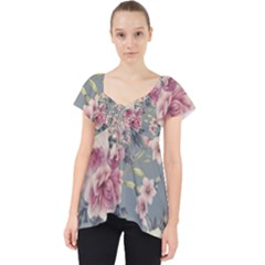 Pink Flower Seamless Design Floral Lace Front Dolly Top