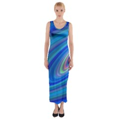 Oval Ellipse Fractal Galaxy Fitted Maxi Dress