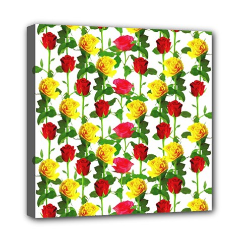 Rose Pattern Roses Background Image Mini Canvas 8  X 8