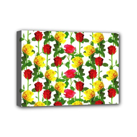 Rose Pattern Roses Background Image Mini Canvas 7  X 5