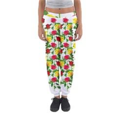 Rose Pattern Roses Background Image Women s Jogger Sweatpants