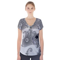 Apple Males Mandelbrot Abstract Short Sleeve Front Detail Top