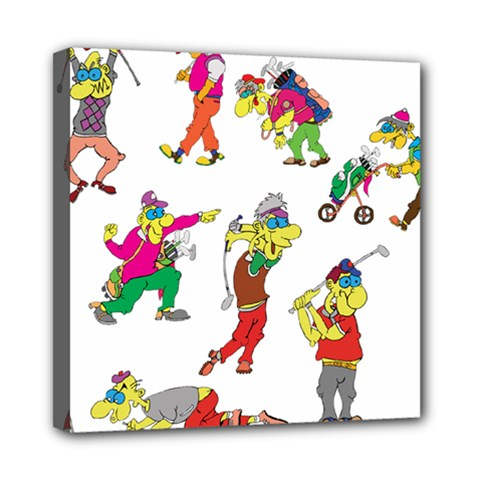 Golfers Athletes Mini Canvas 8  X 8