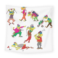 Golfers Athletes Square Tapestry (large)