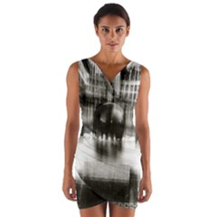 Black And White Hdr Spreebogen Wrap Front Bodycon Dress