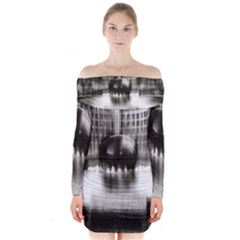 Black And White Hdr Spreebogen Long Sleeve Off Shoulder Dress