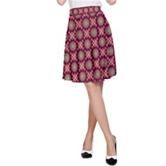 Kaleidoscope Seamless Pattern A Line Skirt