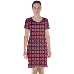 Kaleidoscope Seamless Pattern Short Sleeve Nightdress